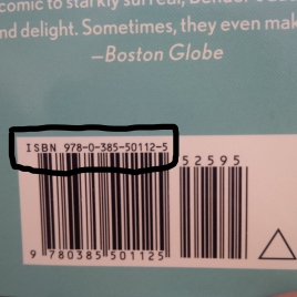 """The ISBN for a hardcover first edition of Aimee Bender's novel, """"The Particular Sadness of Lemon Cake"""""""